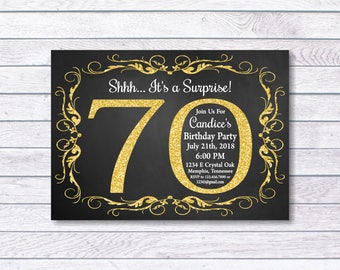 70th Birthday Invitation, 70th Birthday, 70th birthday for her, Shhh... It's a Surprise, Girl Birthday, Gold, chalkboard, Surprise