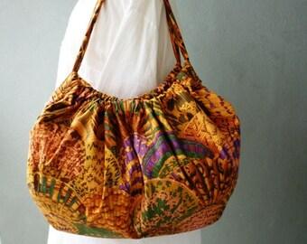 On Sale: Large Tote Beach Bag- Hobo Bag - Shells in Earthtones and Jewel Tones
