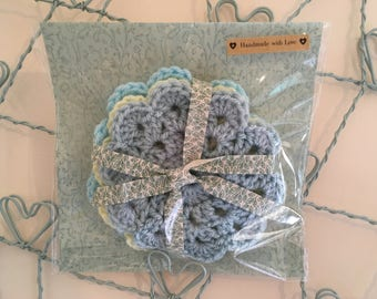 3 Crochet tea coasters dollies pastel shabby chic