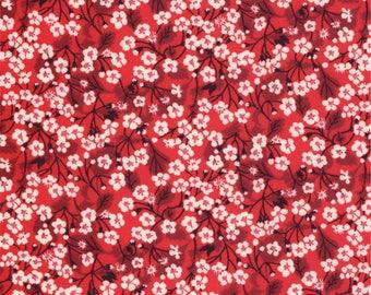 Printed fabric Liberty Mitsi Valeria Liberty Red print