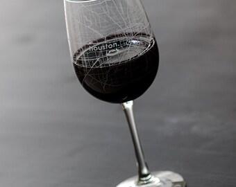 Houston Map Wine Glass