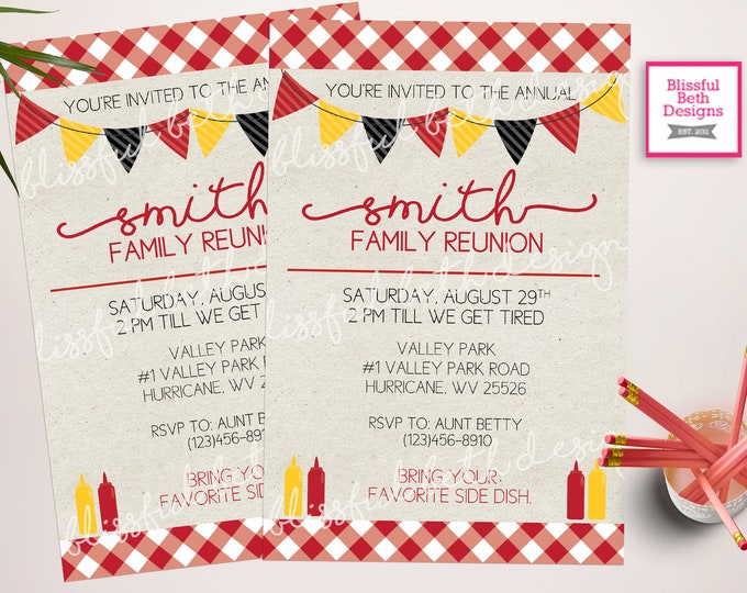 Family Reunion Invitation, BBQ Invitation, Family Reunion BBQ, Family Invitation, Picnic Invitation, Family Reunion, Family Picnic