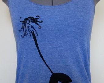 Racer Back Tank Top Athletic Blue Mermaid Design