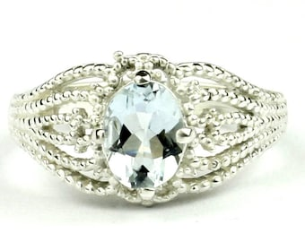 Aquamarine, 925 Sterling Silver Ladies Ring, SR365