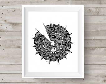 Oeuvre de Mandala, dessin fille, décor de salle, noir & blanc, dessin à l'encre, dessin Mandala, numérique Télécharger Art Print, imprimable