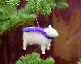Lamb with a Purple Scarf - Needle Felted Sheep Christmas Ornament