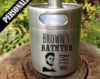 Custom Stainless Steel Beer Keg Growler with personalized design, personalized growler, Father's Day, laser engraved, home brew, groomsmen