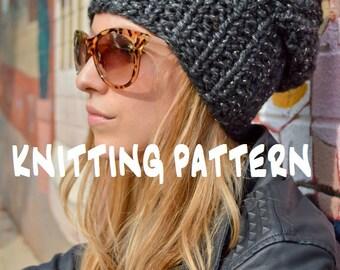 DIY KNITTING PATTERN Slouchy Beanie Pattern Knit Slouch Hat Pattern Slouch Beanie Knitting Pattern Grunge Hipster Hippie Beanie Knit Pattern