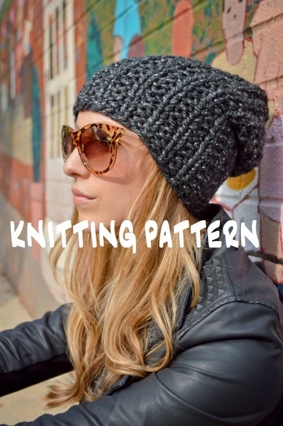 Diy Knitting Pattern Slouchy Beanie Pattern Knit Slouch Hat