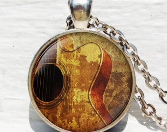 Vintage Guitar necklace, Acoustic Guitar Art Jewelry, Guitar Pendant,  music art pendant, Guitar player gift, Gift for musician