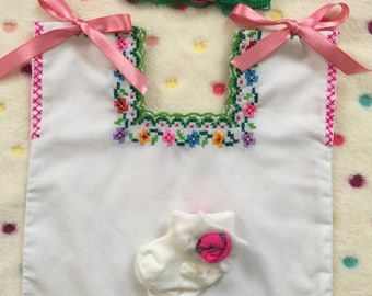 Beautiful Baby Girl's Mexican set dress huipil style, hand embroidered with flowers.