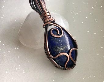 Wire Wrapped Lapis Lazuli Necklace, Reiki Attuned, Handmade, Chakras, Third Eye, 1111, Mother's Day