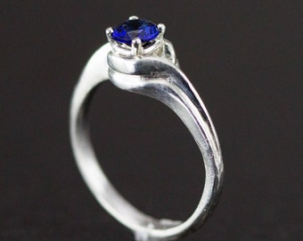 Sapphire Swirl Ring - Sterling Bypass Ring - Silver Twist Ring - Size 7 Ready to Ship