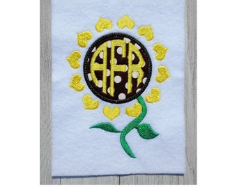 Sunflower Applique, 5 size Embroidery Design for Machine embroidery, Instant Download, monogram frame, no fonts incluided