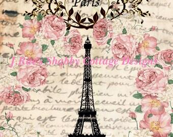 Altered Art Eiffel Tower Paris French Roses Fabric Block 8x10 JRaes Exclusive