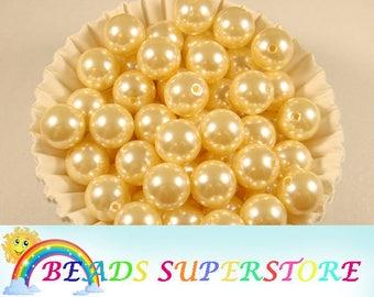 16 mm Cream Pearl Bubblegum Round Bead - Gumball Bead - Acrylic Chunky Bead - 10 pcs (16CHP03)