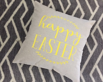Happy Easter Burlap Envelope Pillow Cover/ Pillow Cover/ Burlap Pillow Cover/Easter Decor