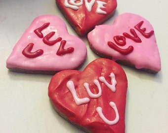 Valentine's Day Conversation Heart Dog Treats - All Natural - Dog Treat -  3 treats - Heart Shaped Cookies - Yogurt Icing - Gourmet Treats