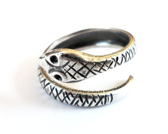 Snake Ring Steampunk Serpent Ring Adjustable Sterling Silver Ox Finish