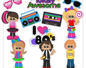 DIGITAL SCRAPBOOKING CLIPART - Awesome 80's