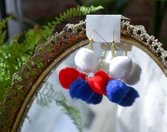 Red White & Blue Triple Pom Pom Earrings