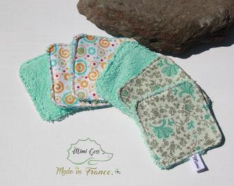 Lot de 5 lingettes démaquillante lavables en tissu éponge/coton.
