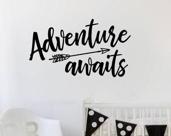 Adventure Awaits Wall Decal, Arrow Decals, Adventure Theme Room Decor, Boys Wall Decals, Lumberjack Room Decor