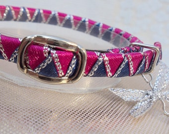 Teeny tiny elasticated kitten collar Hot Pink and Navy Blue