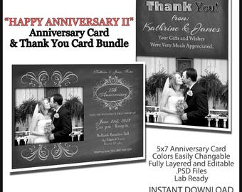 2017 Anniversary Wedding Invitation II 5x7 Flat Card Photoshop Template. Includes Thank You Card Template. Great for Anniversaries.