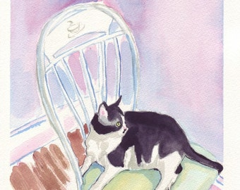 Black and White Cat Watercolor Painting - Cat Art, Kitty on Chair Watercolor Art Print, 8x10