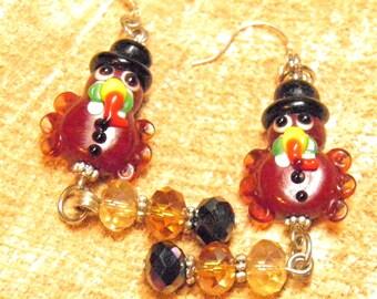 Thanksgiving Earrings, Sterling Silver Artisan Lampwork Turkey Beads, Thanksgiving Turkey Earrings, Thanksgiving Jewelry OOAK Autumn Jewelry