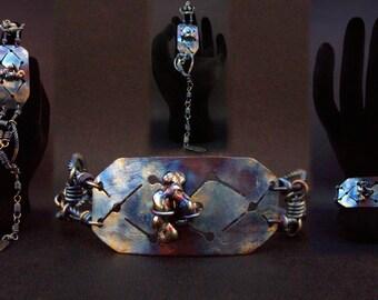 Wire Wrap Jewelry Titanium bracelet Wire bracelet Geometric bracelet Hole bracelet Ethnic bracelet Indian bracelet Rainbow bracelet Blue