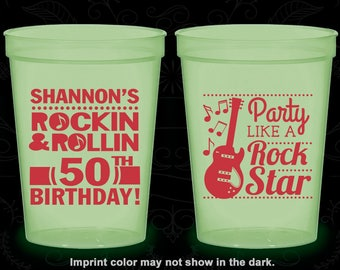 50th Birthday Glow in the Dark Cups, Rock and Roll Birthday, Party like a Rock Star, Glow Birthday Party (20173)