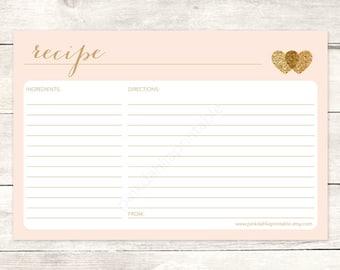 pink gold bridal shower recipe card printable blush pink gold glitter hearts wedding shower digital games - INSTANT DOWNLOAD