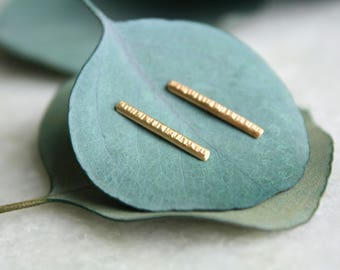 gold bar stud earrings, 14k gold line studs, handmade gold earrings, hammered texture, recycled gold, yellow gold, gift for women, holiday