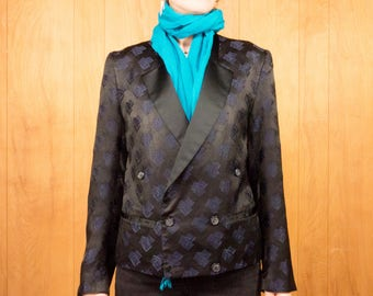 Vintage Tuxedo Jacket 90s Tux Blue Black Geometric Print Double Breasted Evening Coat Avant Garde Jacket ~ Medium
