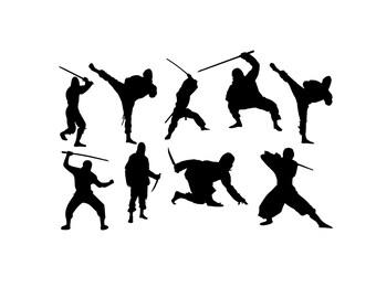 Ninja's - VINYL Wall Decor - DECAL STICKER - Set of 9 Silhouettes