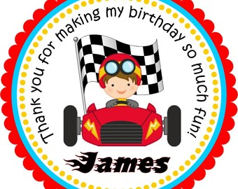 Race Car Stickers, Personalized  Labels, Birthday Stickers, Race Car Birthday Party - set of 12