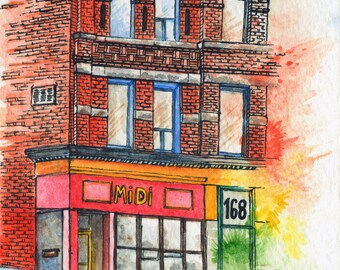 Toronto Art // Watercolor Giclee Print // Giclee Print of Original Watercolor Painting - MiDi Bistro Toronto (Limited Edition)