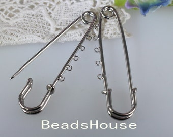 6 Pcs  -  70mm Silver  Plated Safety Pin / Brooch with 5Holes