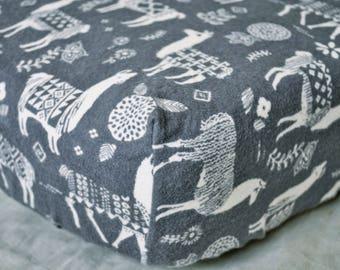 Llama Crib Sheet, Grey Flannel Crib Sheet