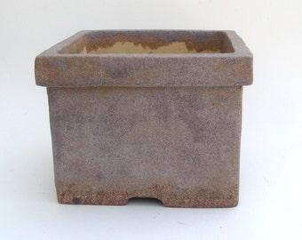Square Bonsai Pot with Gray and Tan Glaze, Planter with Holes, Hand Built Succulent Planter, Slab Built Plant Pot
