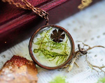 Real Moss necklace, Terrarium jewelry, Real flower necklace, botanical necklace, resin pendant,fairy garden, boho necklace, Graduation gift