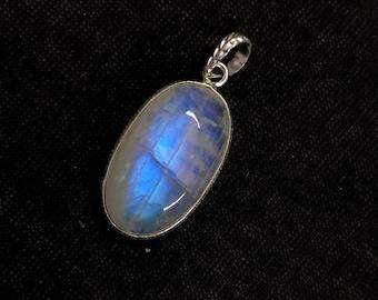 Moonstone pendant etsy genuine rainbow moonstone pendant jewelry 925 sterling silver rainbow moonstone pendant aaa blue flashy moonstone bezel pendant necklace aloadofball Images