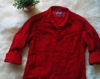 Pendleton Flannel Wool Flannel Button Up Shirt Red