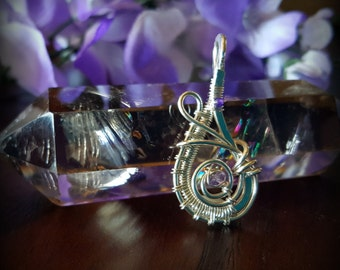 Sterling Silver Wire Wrapped Pendant with Small Amethyst & Purple Jade