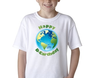 Happy Earth Day Birthday Funny T-Shirt for Kids Environment Planet Recycle Tee