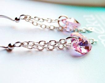 Boucles d'oreilles coeur cristal rose fait avec éléments Swarovski, Boucles d'oreilles cristal, boîte cadeau pour demoiselles d'honneur