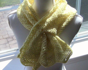 Gift For Her, Womens Scarf, Yellow Scarf, Yellow Keyhole Scarf, Keyhole Scarf, Soft Yellow Scarf, Fashion Scarf