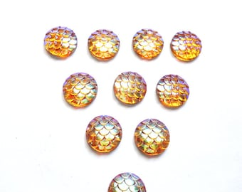 10 Yellow/Orange AB Resin Mermaid Scale Cabochons 12mm - 14-12-G